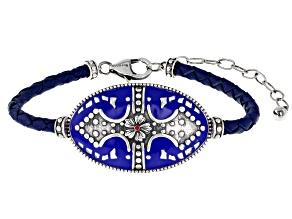 Blue Enamel Desert Rose Sterling Silver Bracelet