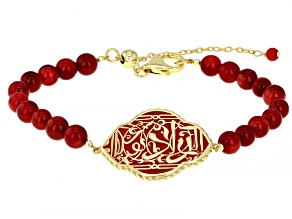 Red Coral & Red Enamel 18k Yellow Gold Over Silver Bracelet
