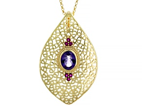 Purple Amethyst With Raspberry Ruby 18k Yellow Gold Over Silver Enhancer With Chain 2.30ctw