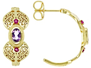 Purple Amethyst & Red Ruby 18k Yellow Gold Over Silver Filigree Earrings 0.35ctw