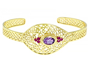 Oval Amethyst & Round Ruby 18k Yellow Gold Over Silver Filigree Bracelet 1.13ctw