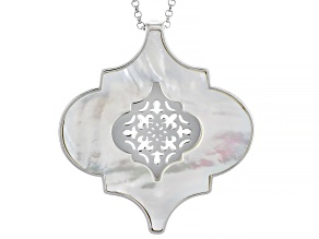 White Mother Of Pearl Sterling Silver Enhancer With Chain