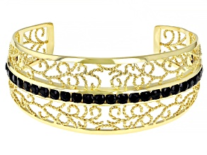 Black Spinel 18k Yellow Gold Over Silver Cuff Bracelet 0.30ctw
