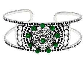 Green Jadeite Sterling Silver Cuff Bracelet 0.40ctw