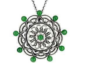 Green Jadeite Sterling Pendant With Chain 0.40ctw