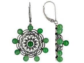 Green Jadeite Sterling Silver Earrings 0.40ctw