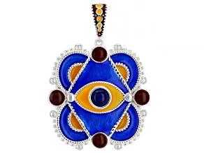 Multi-Color Enamel With Blue Lapis Sterling Silver Evil Eye Enhancer
