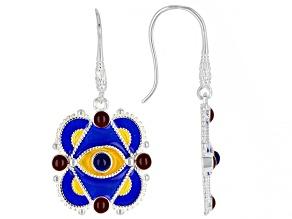 Multi-Color Enamel With Blue Lapis Evil Eye Sterling Silver Earrings