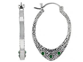 Green Enamel Sterling Silver Earrings