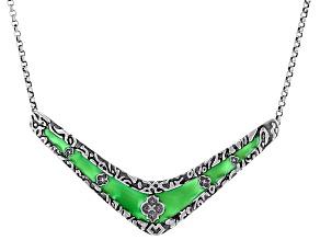Green Enamel & Agate Sterling Silver Necklace
