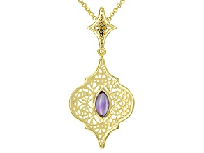 Purple Amethyst 18k Yellow Gold Over Sterling Silver Pendant Enhancer With Chain