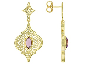 Purple Amethyst 18k Yellow Gold Over Silver Earrings