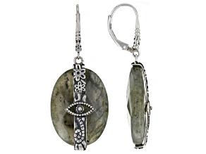 Gray Labradorite Sterling Silver Earrings