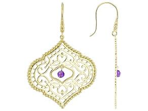 Purple Amethyst 18k Yellow Gold Over Sterling Silver Earrings