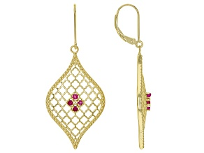 Red Ruby 18k Yellow Gold Over Sterling Silver Earrings 0.10ctw