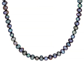 Multi-Color Cultured Freshwater Pearl Evil Eye and Enamel Sterling Silver Necklace