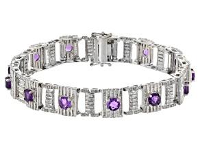 Purple African Amethyst Sterling Silver Bracelet 10.50ctw