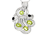 Green Peridot Sterling Silver Pendant With Chain 4.58ctw