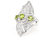 Green Peridot Sterling Silver 3-Stone Ring 3.41ctw