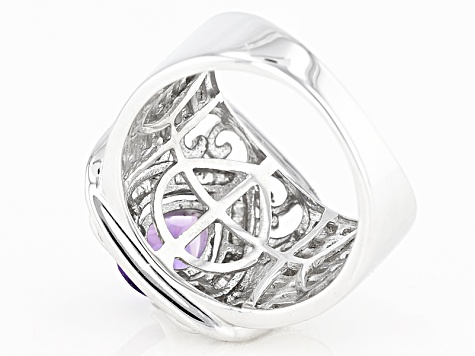 Purple African Amethyst Sterling Silver Ring 1.83ctw