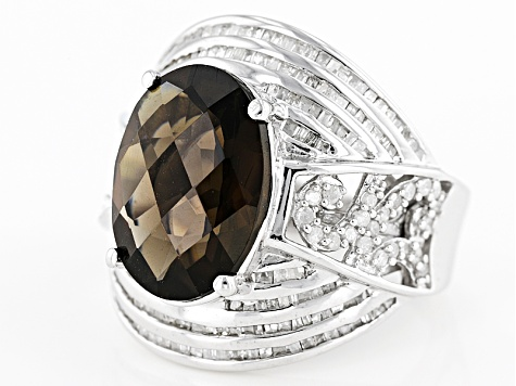 Brown Brazilian Smoky Quartz Sterling Silver Ring 5.96ctw