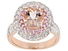 Pink morganite 18k rose gold over sterling silver ring 2.68ctw