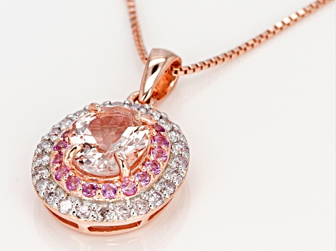 Pink Morganite 18k Rose Gold Over Silver Pendant with Chain 2.88ctw
