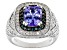Blue Tanzanite Rhodium Over Sterling Silver Ring 2.87ctw