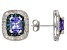 Blue Tanzanite Rhodium Over Sterling Silver Earrings 3.35ctw