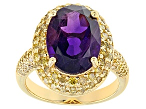 Purple amethyst 18k yellow gold over silver ring 6.24ctw