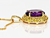 Purple amethyst 18k yellow gold over silver pendant with chain 5.98ctw