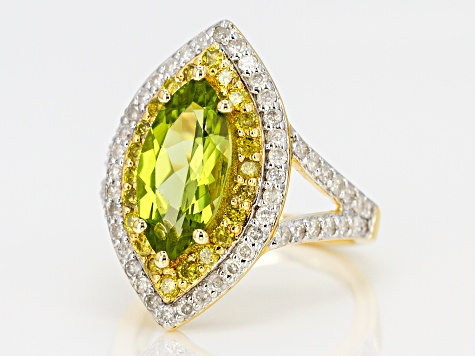 Green peridot 18k yellow gold over sterling silver ring 4.18ctw