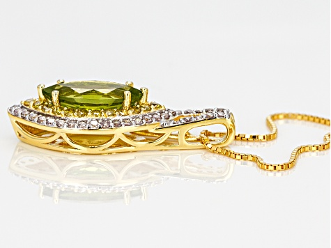 Green peridot 18k yellow gold over silver pendant with chain 3.89ctw