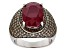 Red Mahaleo(R) Ruby Rhodium Over Sterling Silver Ring 8.28ctw