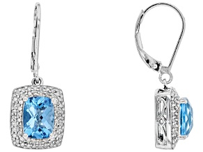 Swiss Blue Topaz Sterling Silver Dangle Earrings 3.42ctw