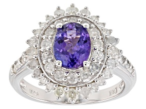 Blue tanzanite rhodium over sterling silver ring 2.25ctw
