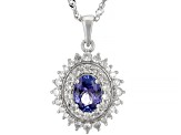 Blue Tanzanite Rhodium Over Sterling Silver Pendant With Chain 1.97
