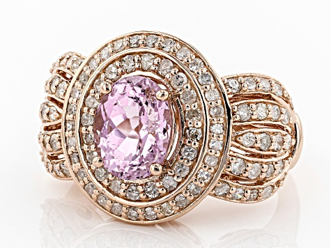 Pink Kunzite 18k Rose Gold Over Sterling Silver Ring 3.22ctw
