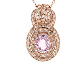 Pink Kunzite 18k Rose Gold Over Silver Pendant With Chain 3.00ctw