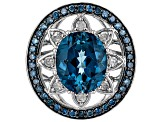 London Blue Topaz Rhodium Over Sterling Silver Ring 6.17ctw