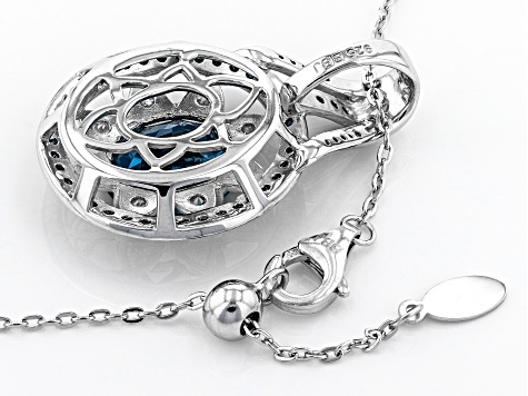 London Blue Topaz Rhodium Over Sterling Silver Pendant With Adjustable Chain 6.02ctw