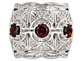 Red Garnet Rhodium Over Sterling Silver Ring 2.91ctw