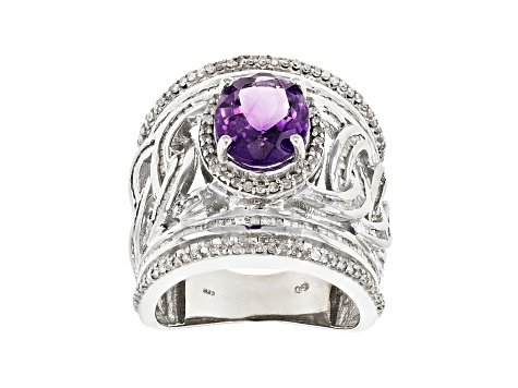 Purple African amethyst rhodium over sterling silver ring 4.29ctw