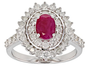 Red Burmese ruby rhodium over silver ring 1.75ctw