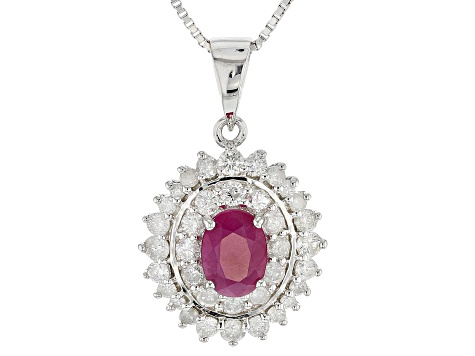 Red Burmese ruby rhodium over silver pendant with chain 1.57ctw