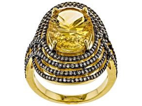 Yellow citrine 18k yellow gold over silver ring 4.87ctw
