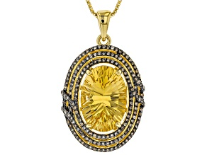 Yellow citrine 18k yellow gold over silver pendant with chain 4.56ctw