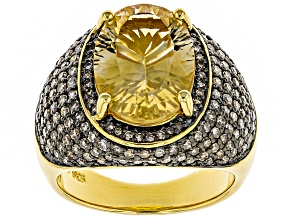 Yellow citrine 18k yellow gold over silver ring 5.66ctw