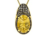 Yellow citrine 18k yellow gold over silver pendant with chain 5.01ctw
