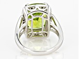 Green Peridot Rhodium Over Silver Ring 5.48ctw